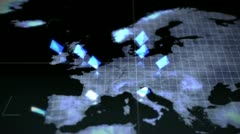 Business videos on a map of an Earth image courtesy of Nasa.org Stock Footage