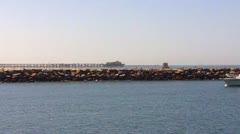 Small Yacht Entering Alamitos Bay Stock Footage