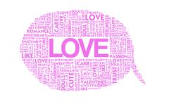 love valentine word collage on white background - stock illustration