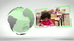 Video of school next to an Earth image courtesy of Nasa.org - stock footage