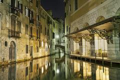 Venice beautiful night canal reflection 1193.jpg Stock Photos