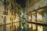 Stock Photo of Venice beautiful night canal reflection 1193.jpg