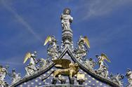 Venice Italy angels saint on top of church cathedral bold 9559.jpg Stock Photos