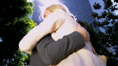 Females congratulating each other - stock footage