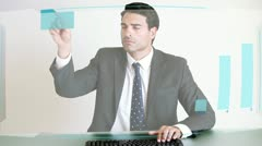 Business people looking at a futuristic screen - stock footage