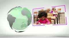 Videos of a classroom next to an Earth image courtesy of Nasa.org - stock footage