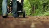 Father with child in stroller walks in park, HD Stock Footage