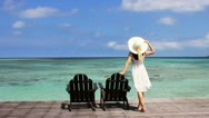 Lady at island resort Stock Footage