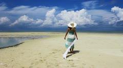 Lady at island resort Stock Footage