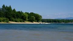 Shore of Liptovska Mara lake during summer - stock footage