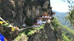 Taktshang palphug monastery, paro, bhutan Stock Footage