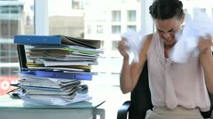 Irritated business woman in office - stock footage