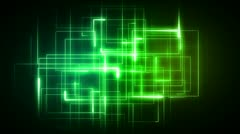 Green lines forming geometrical shapes Stock Footage