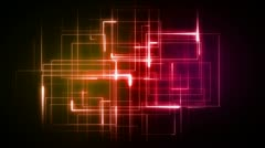 Orange and pink lines forming geometrical shapes Stock Footage