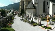 Cemetery in the European Alps 02 Stock Footage
