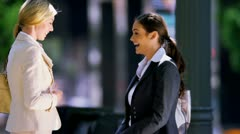 Females talking business Stock Footage