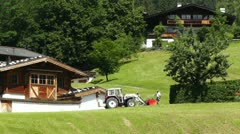 European Alps Austria 11 tractor Stock Footage