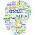 Head with the words on the topic of social networking and media Stock Illustration