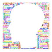 Blank head with brain speach and word cloud outside for business concept Stock Illustration