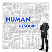 business man and bulb head with word cloud for business concept - stock illustration