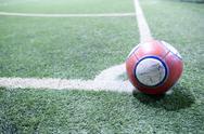 Soccer ball on the conner Stock Illustration