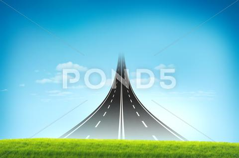 Stock Illustration of road long run to the sky for new and opportunity concept
