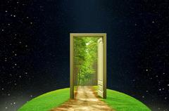 Stock Illustration of creativity earth and imagination opened door