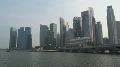 Pan across the city district of Singapore Stock Footage