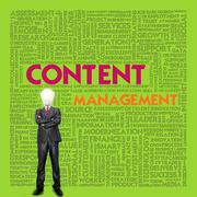 business word cloud for business concept, content management - stock illustration