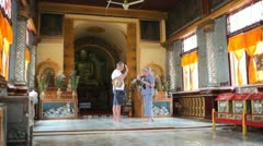 Visitors in Indein pagoda, Myanmar Stock Footage