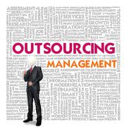 Stock Illustration of business word cloud for business concept, outsourcing