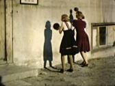 Skillful Girls Playing Ball on Wall Soccer Practice 4 - Vintage 16mm Film Stock Footage