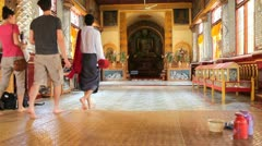Visitors in Indein pagoda, Myanmar - stock footage