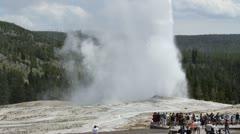 Yellowstone - Old Faithful Crowd - stock footage