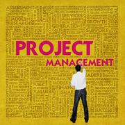 business word cloud for business concept, project management - stock illustration