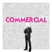business word cloud for business concept, commercial - stock illustration
