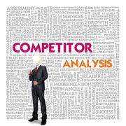 business word cloud for business concept, competitor analysis - stock illustration