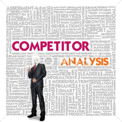 Stock Illustration of business word cloud for business concept, competitor analysis