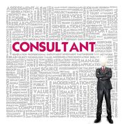 business word cloud for business concept, consultant - stock illustration