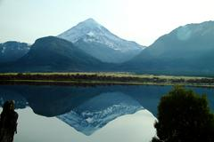 Lanin Volcano Reflection - stock photo