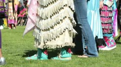 Pow Wow Side View Dancing Feet and Skirts Stock Footage