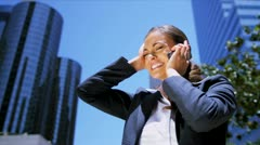 Businesswoman using her smart phone Stock Footage