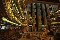 Cruise ship atrium entrance elevators passengers 0891.jpg Stock Photos