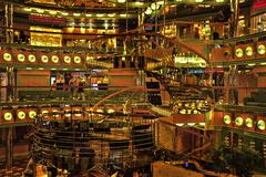Cruise ship atrium shops bright lights 0910.jpg Stock Photos