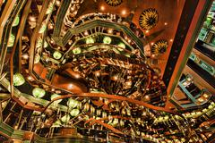 Cruise ship atrium stairs bright abstract 0889.jpg Stock Photos