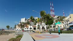 Mazatlan malecon coast road sea promenade Stock Footage