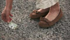 Finding Lost 20 Dollar Bill on the Street Stock Footage