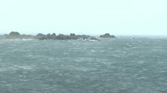 Wind Blown Sea And Rocks Stock Footage