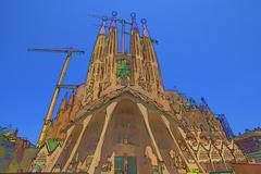 Sagrada Familia illustration Barcelona Spain - stock illustration