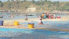 Women turning dry fish Stock Footage